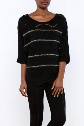 Double Zero Black Metallic Sweater