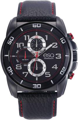 ESQ Swiss Men's Black and Red Stainless Steel Watch,Leather Band