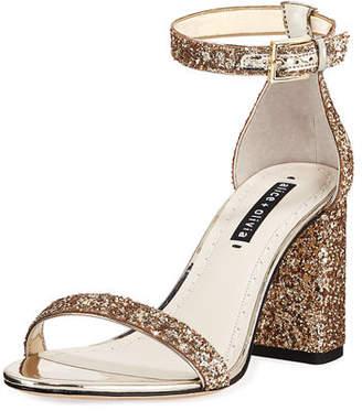 Alice + Olivia Lillian Glitter Block-Heel Sandal