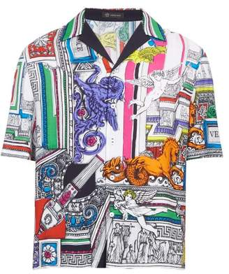 Versace The Temple Printed Twill Shirt - Mens - Multi