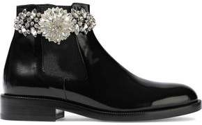 Christopher Kane Crystal-Embellished Glossed-Leather Ankle Boots
