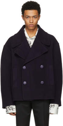 J.W.Anderson Navy Oversized Cropped Peacoat