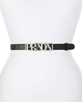 Prada Logo Buckle Leather Belt