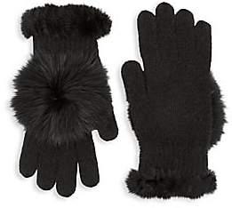 Glamour Puss Glamourpuss Women's Rabbit Fur & Fox Fur-Trimmed Knit Gloves
