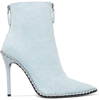 Alexander Wang Eri Studded Denim Ankle Boots - Light denim