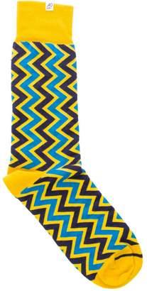 40 Colori Gold Vertical Chevron Striped Organic Cotton Socks