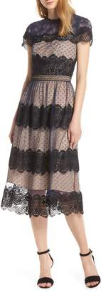 Chelsea28 Mixed Lace Midi Dress