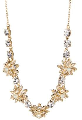 Marchesa Faux Pearl Crystal Star Cluster Frontal Necklace