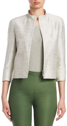 Akris Punto Striped Silk Elbow-Sleeve Jacket