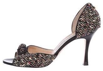 Manolo Blahnik Tweed High Heel Pumps