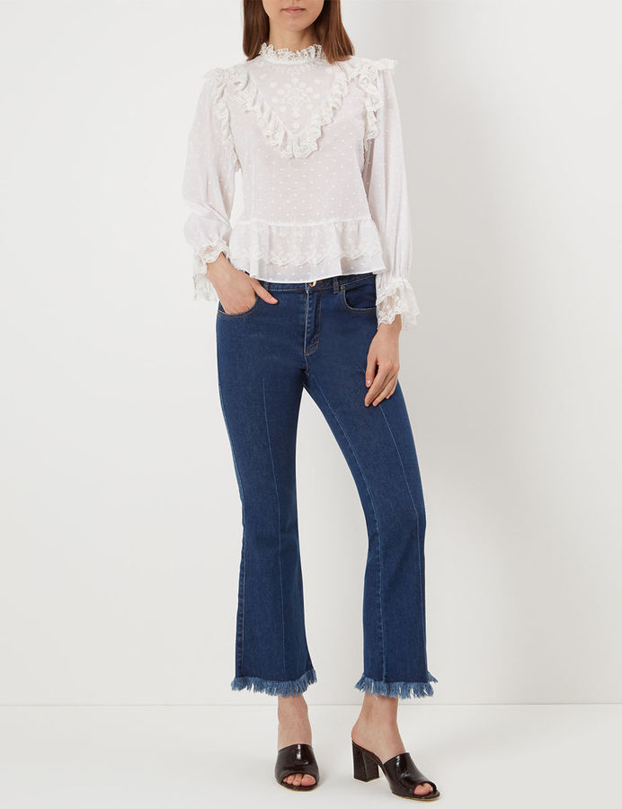 Ulla Johnson Pearl Noemie Lace Embroidered Blouse