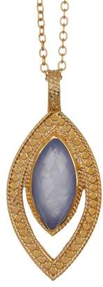 Anna Beck 18K Gold Plated Sterling Silver Blue Chalcedony Pendant Necklace