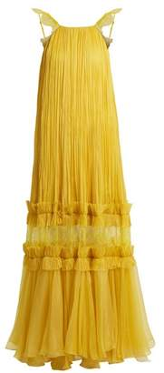 Maria Lucia Hohan - Felicia Pleated Halterneck Tulle Gown - Womens - Yellow