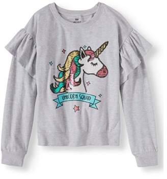 Pink Velvet Sequin Graphic Ruffle Sleeve Sweatshirt (Little Girls & Big Girls)