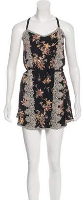 Anna Sui Lace-Accented Silk Dress