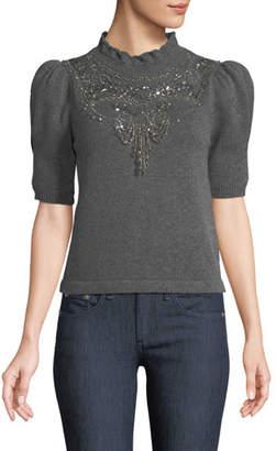 Co Mock-Neck Pouf-Sleeve Wool-Cashmere Sweater w/ Chandelier Embellishment