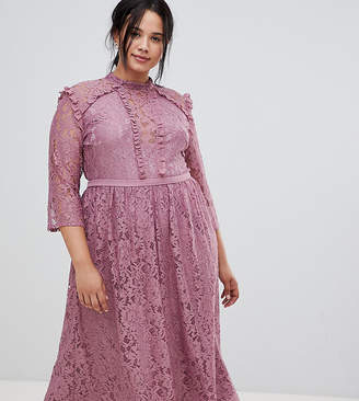 Little Mistress Plus all over lace full midi prom dress