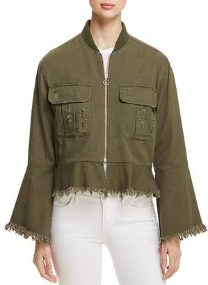 Bagatelle Distressed Bell Sleeve Bomber Jacket