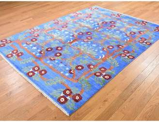 """Blue Area World Menagerie One-of-a-Kind Eyota Art Arts and Crafts Oriental Hand-Knotted 5'8"""" x 7'8"""" Silk Denim Rug World Menagerie"""