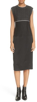 Women's Dkny Pinstripe Mixed Media Sheath Dress $448 thestylecure.com