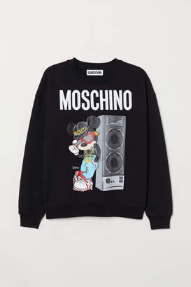 H&M Sweatshirt with Applique - Black