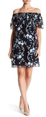 Zac Posen Off-the-Shoulder Mesh Floral Dress