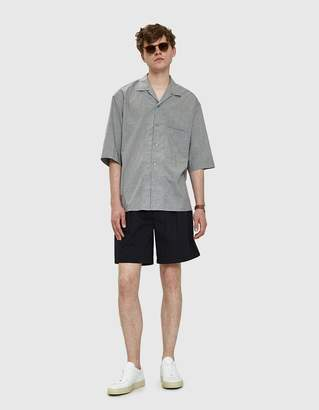 Lemaire Convertible Collar Shirt in Grey Marl