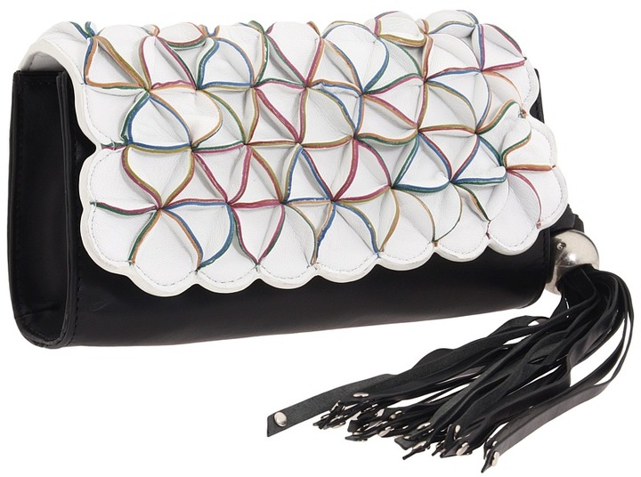 Nanette Lepore Petal Clutch (Black/White) - Bags and Luggage