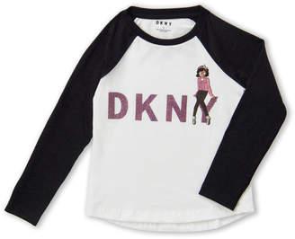 DKNY Girls 4-6x) Long Sleeve Glitter Logo Raglan Tee