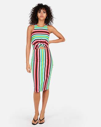 Express Stripe Twist Front Sheath Dress