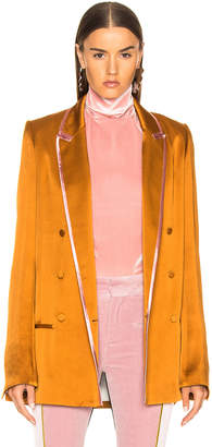Haider Ackermann Contrast Trim Double Breasted Soft Blazer in Copper & Rose | FWRD