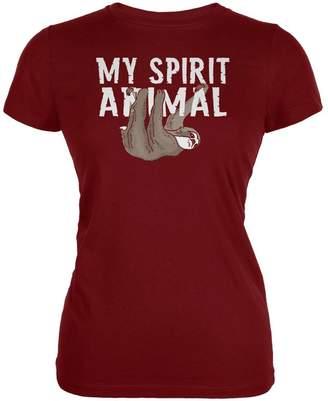 Old Glory Sloth is My Spirit Animal Juniors Soft T Shirt Garnet MD