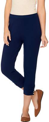 Susan Graver Weekend Cotton Spandex Capri Pants w/ Charm Button Detail