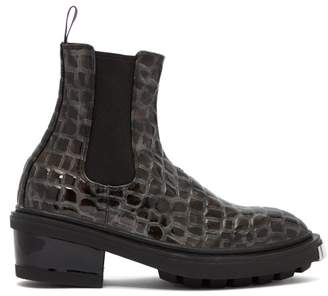 Eytys Nikita Crocodile Effect Leather Chelsea Boots - Womens - Dark Grey