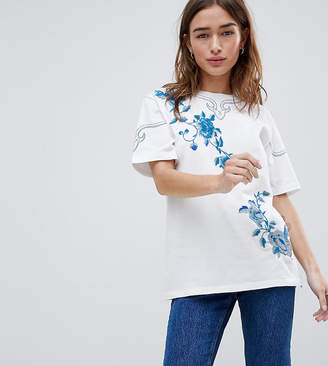 Asos DESIGN Petite T-Shirt With Floral Embroidery