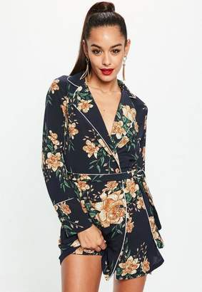 Missguided Navy Satin Floral Belted Wrap Shift Dress