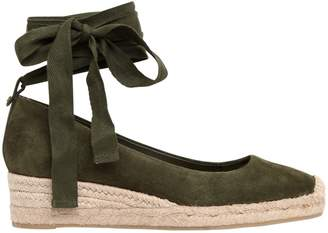 Tory Burch 40mm Heather Suede Lace-Up Espadrilles