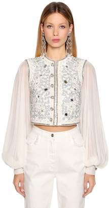 Etro Embellished Cotton Blend Bolero Jacket