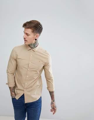 Farah Thornlea Slim Fit Poplin Shirt in Sand