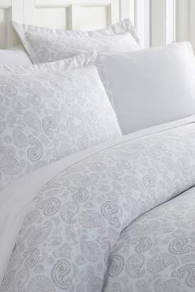 IENJOY HOME Home Spun Premium Ultra Soft 3-Piece Coarse Paisley Print Duvet Cover Queen Set - Light Gray