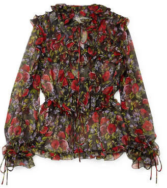 e176682f1d192 Dolce   Gabbana Pussy-bow Ruffled Floral-print Silk-chiffon Blouse - Black
