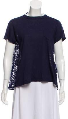 Sacai Lace-Accented Short Sleeve Top