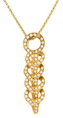 Versace 18K Diamond Woven Pendant Necklace