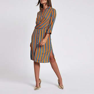 River Island Womens Orange stripe twist front shirt dress