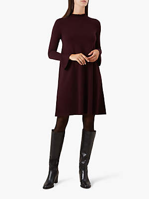 Hobbs Hilda Ruffle Detail Flared Dress, Bordeaux