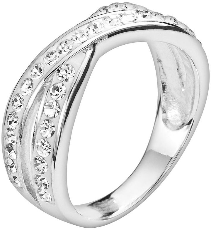 Silver plated crystal crisscross ring
