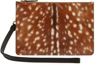 Burberry Deer Print Leather Zip Pouch