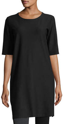 Eileen Fisher Half-Sleeve Crepe Shift Dress