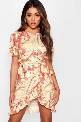 boohoo Frill Hem Rust Paisley Tea Dress