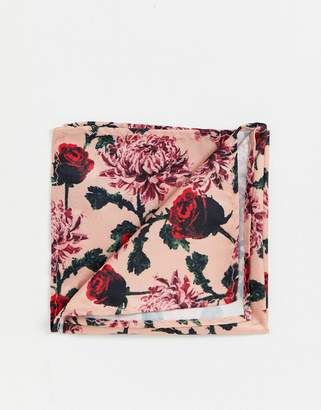 Twisted Tailor pocket square in rose print
